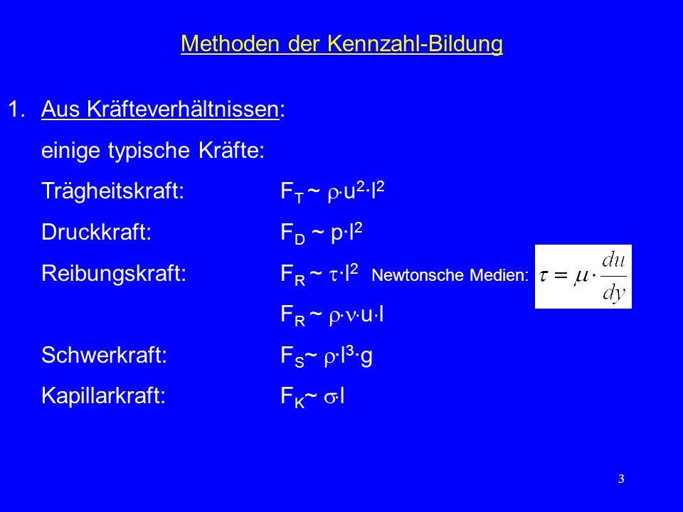 3 Methoden der Kennzahl-Bildung 1.Aus Kräfteverhältnissen: einige typische Kräfte: Trägheitskraft:F T ~ u 2 ·l 2 Druckkraft:F D ~ p·l 2 Reibungskraft:F R ~ ·l 2 Newtonsche Medien: F R ~ u l Schwerkraft:F S ~ ·l 3 ·g Kapillarkraft:F K ~ l