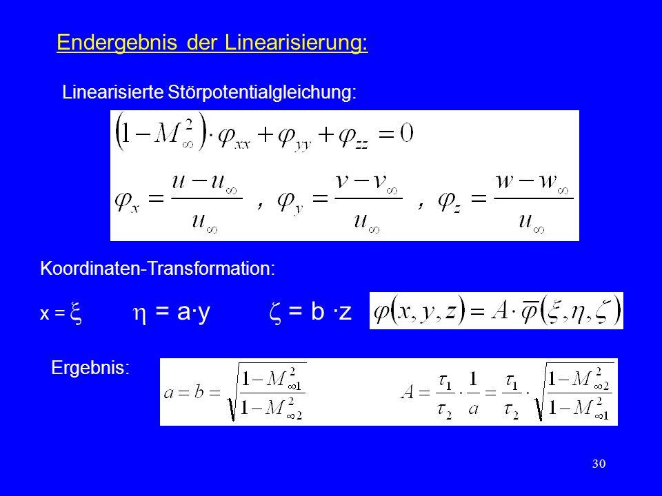30 Endergebnis der Linearisierung: Linearisierte Störpotentialgleichung: Koordinaten-Transformation: x = = a·y = b ·z Ergebnis: