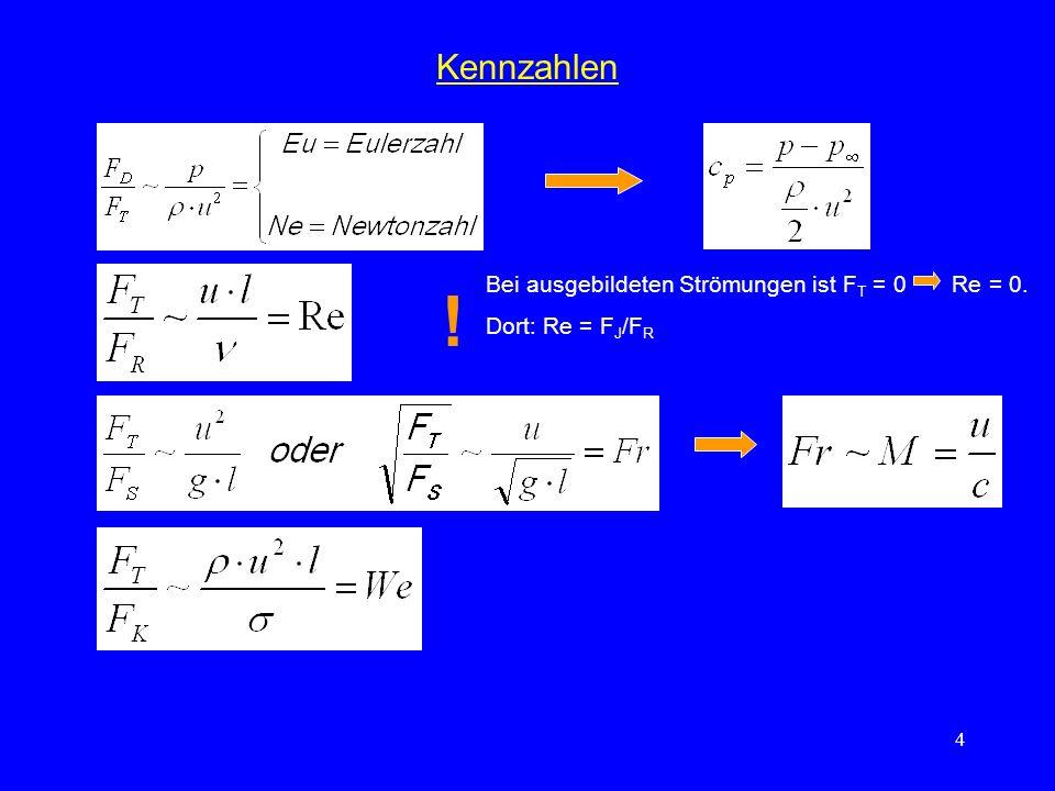 4 Kennzahlen ! Bei ausgebildeten Strömungen ist F T = 0 Re = 0. Dort: Re = F J /F R