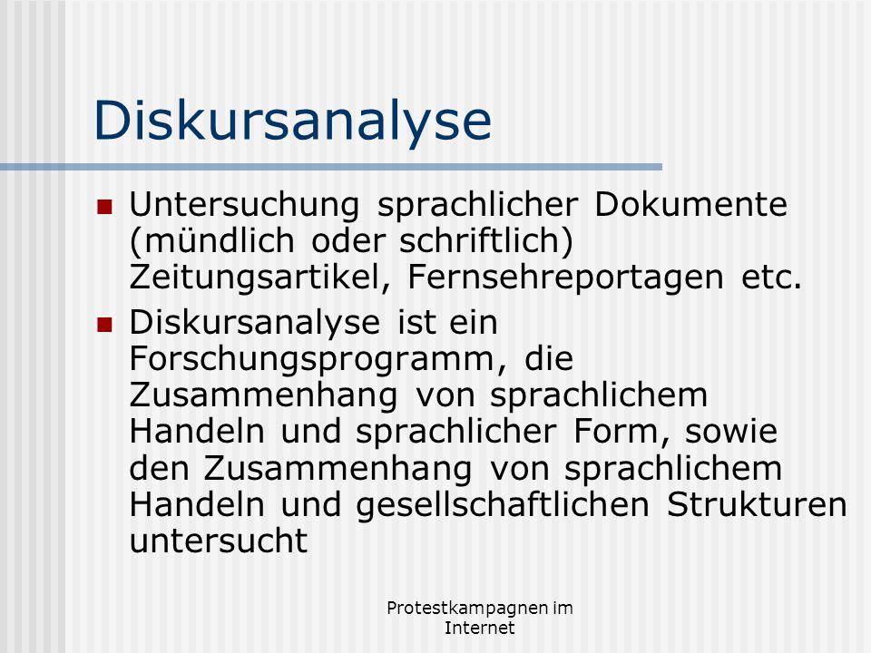 Protestkampagnen im Internet Diskursanalyse Untersuchung sprachlicher Dokumente (mündlich oder schriftlich) Zeitungsartikel, Fernsehreportagen etc. Di