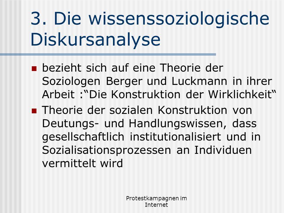 Protestkampagnen im Internet 3. Die wissenssoziologische Diskursanalyse bezieht sich auf eine Theorie der Soziologen Berger und Luckmann in ihrer Arbe