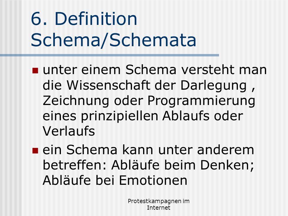 Protestkampagnen im Internet 6. Definition Schema/Schemata unter einem Schema versteht man die Wissenschaft der Darlegung, Zeichnung oder Programmieru
