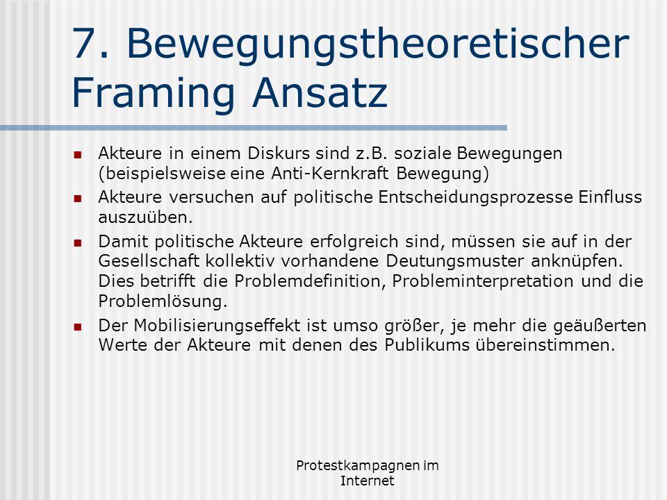 Protestkampagnen im Internet 7. Bewegungstheoretischer Framing Ansatz Akteure in einem Diskurs sind z.B. soziale Bewegungen (beispielsweise eine Anti-