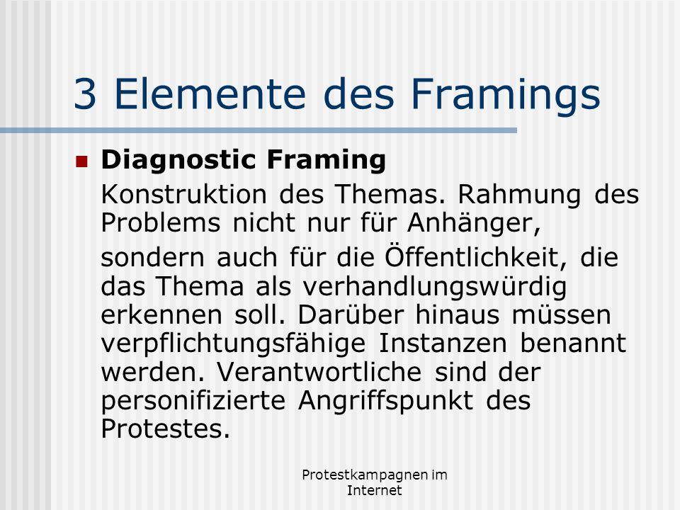 Protestkampagnen im Internet 3 Elemente des Framings Diagnostic Framing Konstruktion des Themas. Rahmung des Problems nicht nur für Anhänger, sondern