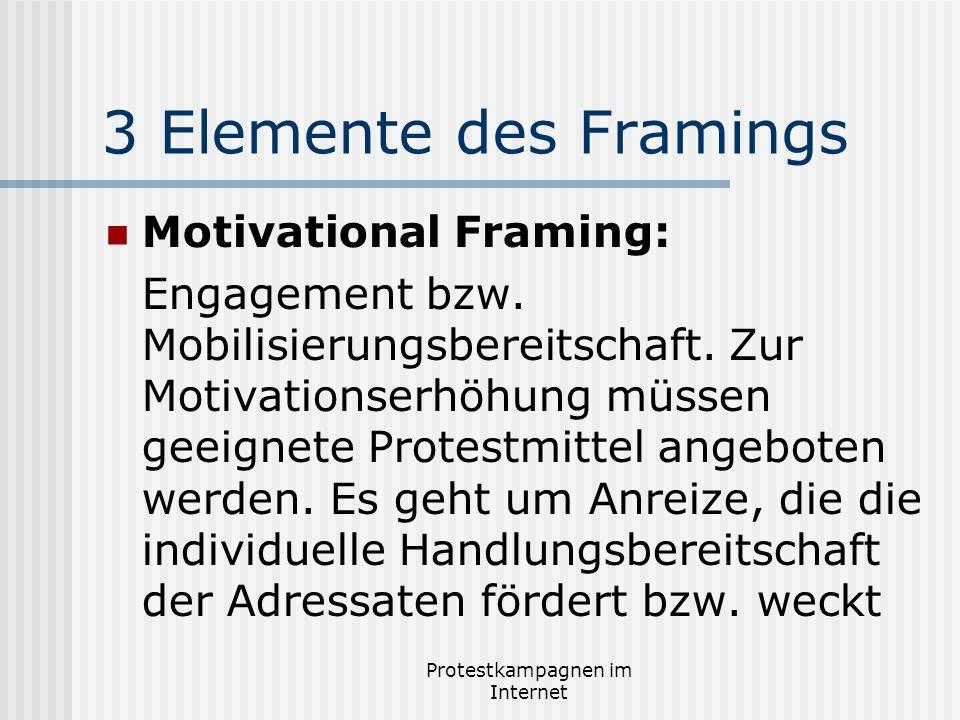 Protestkampagnen im Internet 3 Elemente des Framings Motivational Framing: Engagement bzw. Mobilisierungsbereitschaft. Zur Motivationserhöhung müssen