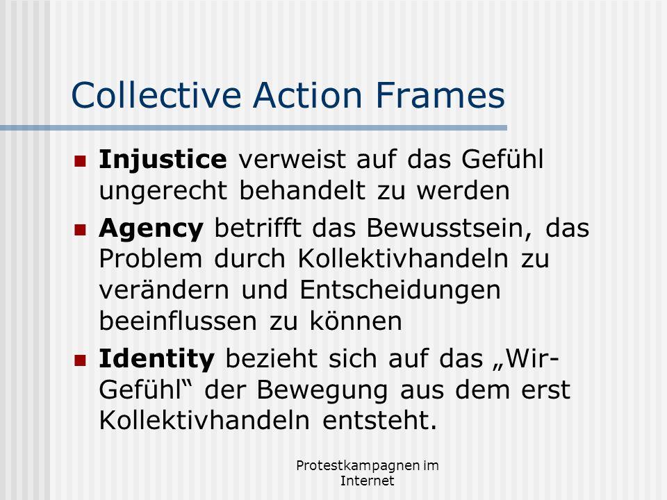 Protestkampagnen im Internet Collective Action Frames Injustice verweist auf das Gefühl ungerecht behandelt zu werden Agency betrifft das Bewusstsein,
