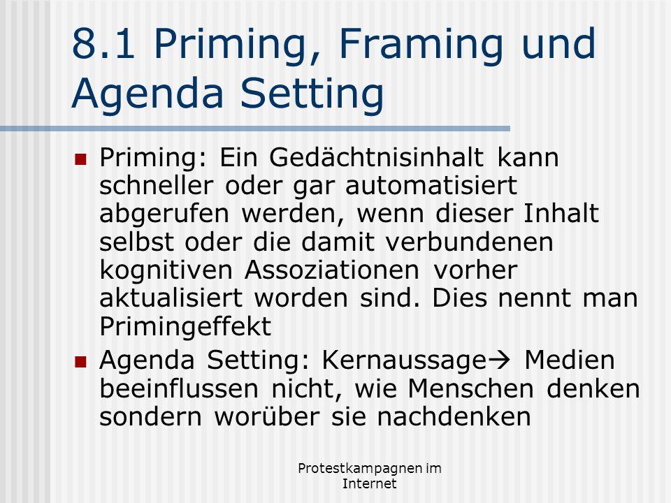 Protestkampagnen im Internet 8.1 Priming, Framing und Agenda Setting Priming: Ein Gedächtnisinhalt kann schneller oder gar automatisiert abgerufen wer