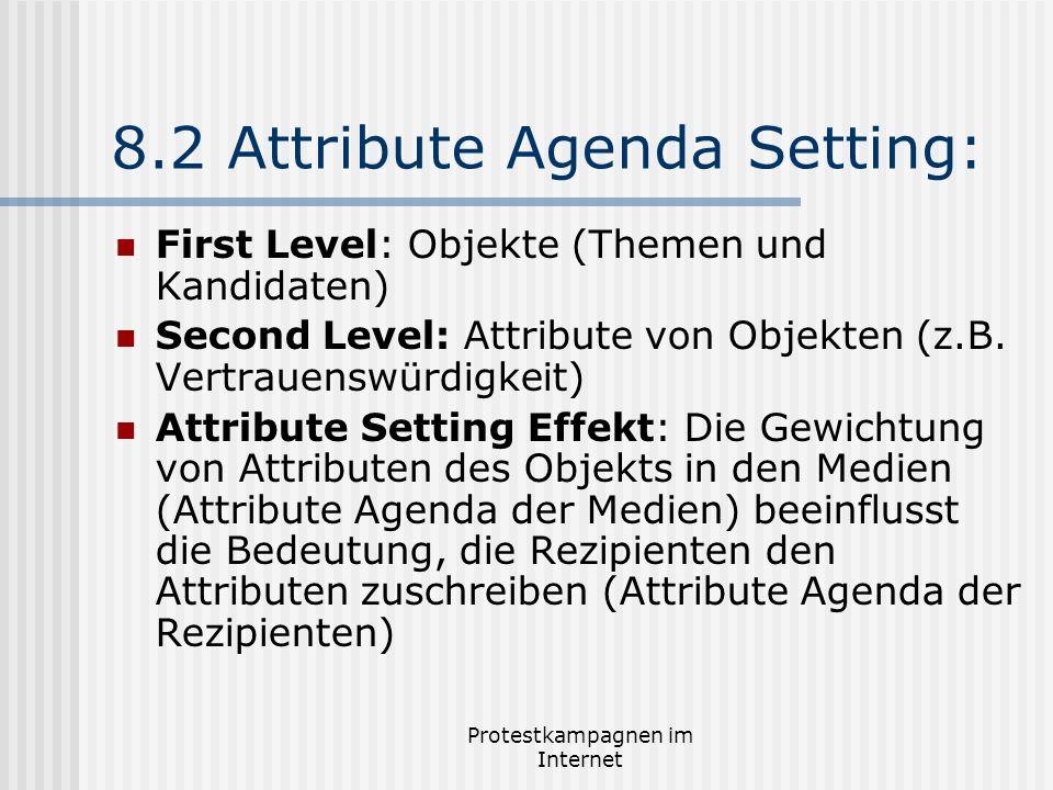 Protestkampagnen im Internet 8.2 Attribute Agenda Setting: First Level: Objekte (Themen und Kandidaten) Second Level: Attribute von Objekten (z.B. Ver