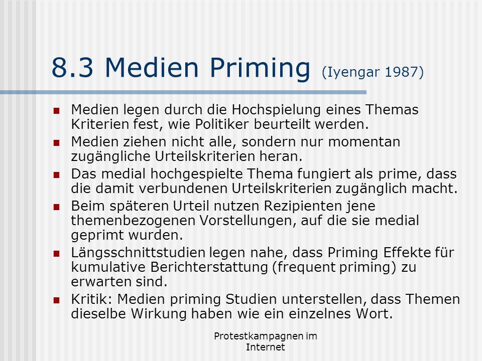 Protestkampagnen im Internet 8.3 Medien Priming (Iyengar 1987) Medien legen durch die Hochspielung eines Themas Kriterien fest, wie Politiker beurteil