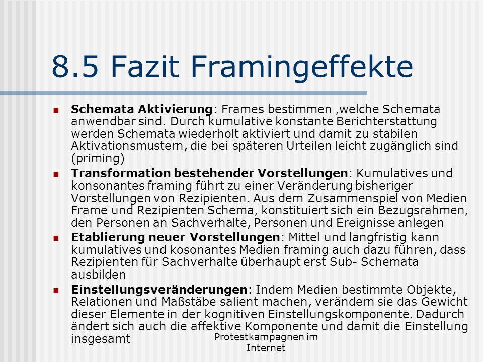Protestkampagnen im Internet 8.5 Fazit Framingeffekte Schemata Aktivierung: Frames bestimmen,welche Schemata anwendbar sind. Durch kumulative konstant