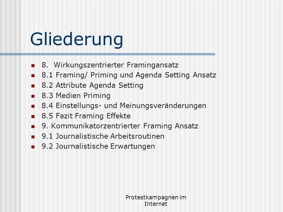 Protestkampagnen im Internet Gliederung 8. Wirkungszentrierter Framingansatz 8.1 Framing/ Priming und Agenda Setting Ansatz 8.2 Attribute Agenda Setti