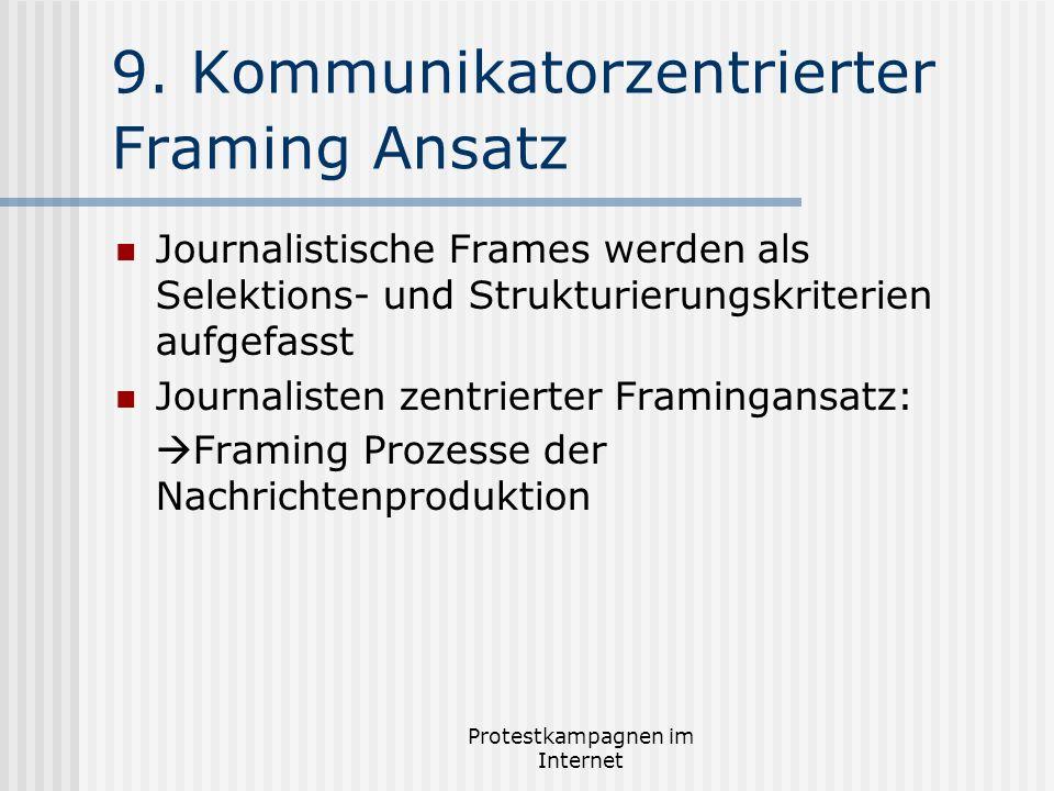 Protestkampagnen im Internet 9. Kommunikatorzentrierter Framing Ansatz Journalistische Frames werden als Selektions- und Strukturierungskriterien aufg