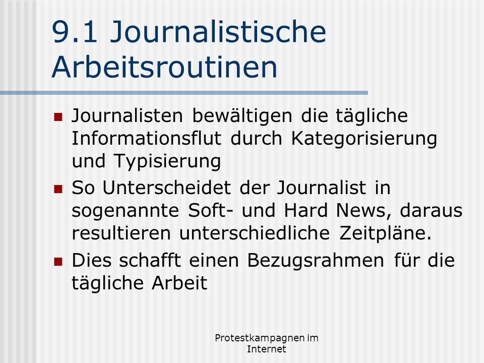 Protestkampagnen im Internet 9.1 Journalistische Arbeitsroutinen Journalisten bewältigen die tägliche Informationsflut durch Kategorisierung und Typis