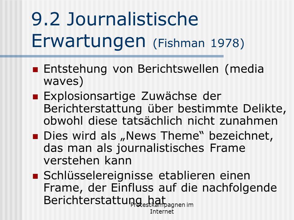 Protestkampagnen im Internet 9.2 Journalistische Erwartungen (Fishman 1978) Entstehung von Berichtswellen (media waves) Explosionsartige Zuwächse der
