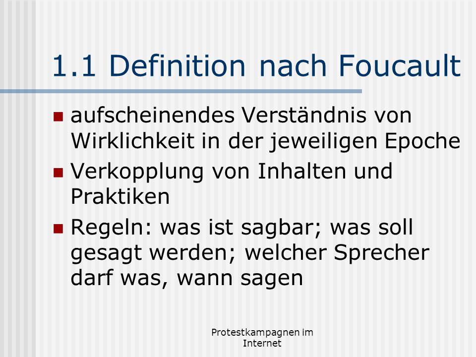 Protestkampagnen im Internet 1.1 Definition nach Foucault aufscheinendes Verständnis von Wirklichkeit in der jeweiligen Epoche Verkopplung von Inhalte