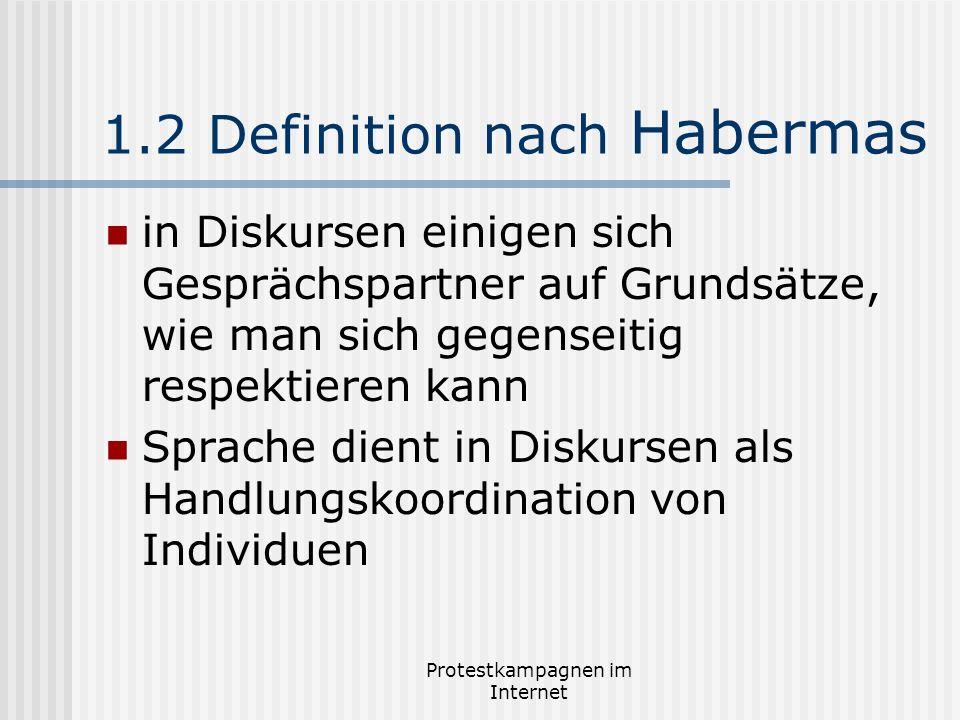 Protestkampagnen im Internet 1.2 Definition nach Habermas in Diskursen einigen sich Gesprächspartner auf Grundsätze, wie man sich gegenseitig respekti