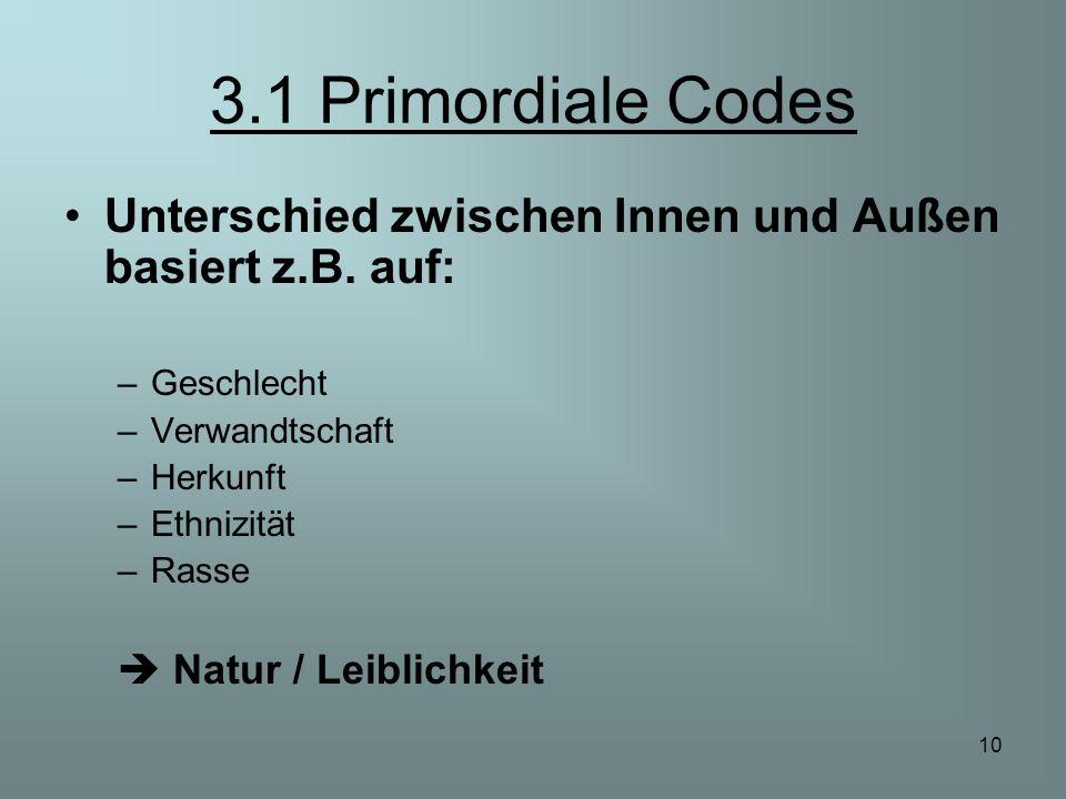 10 3.1 Primordiale Codes Unterschied zwischen Innen und Außen basiert z.B. auf: –Geschlecht –Verwandtschaft –Herkunft –Ethnizität –Rasse Natur / Leibl