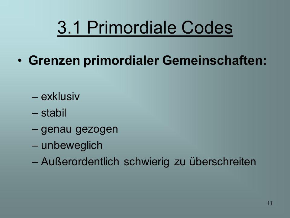 11 3.1 Primordiale Codes Grenzen primordialer Gemeinschaften: –exklusiv –stabil –genau gezogen –unbeweglich –Außerordentlich schwierig zu überschreite