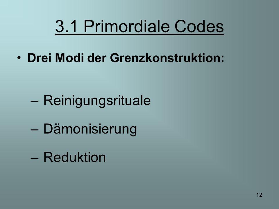12 3.1 Primordiale Codes Drei Modi der Grenzkonstruktion: – Reinigungsrituale – Dämonisierung – Reduktion