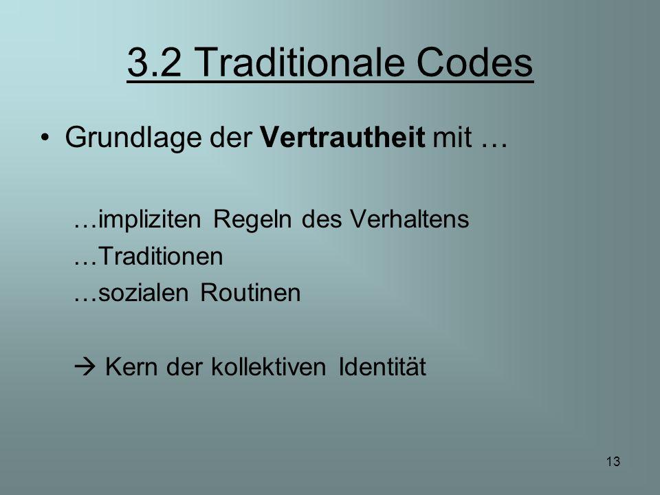 13 3.2 Traditionale Codes Grundlage der Vertrautheit mit … …impliziten Regeln des Verhaltens …Traditionen …sozialen Routinen Kern der kollektiven Iden