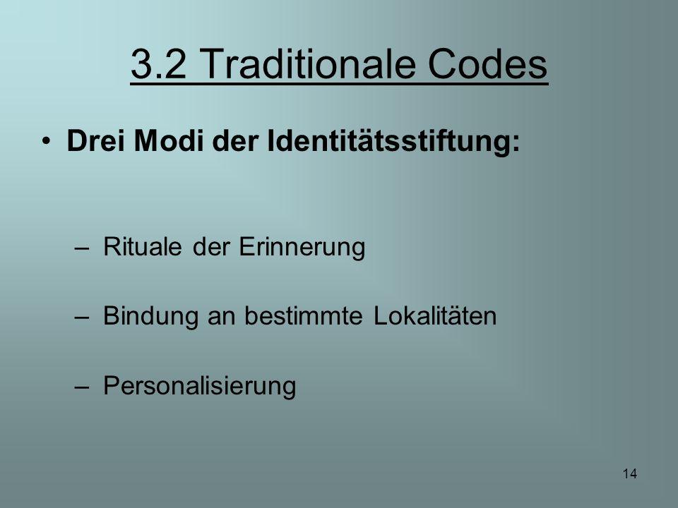 14 3.2 Traditionale Codes Drei Modi der Identitätsstiftung: – Rituale der Erinnerung – Bindung an bestimmte Lokalitäten – Personalisierung