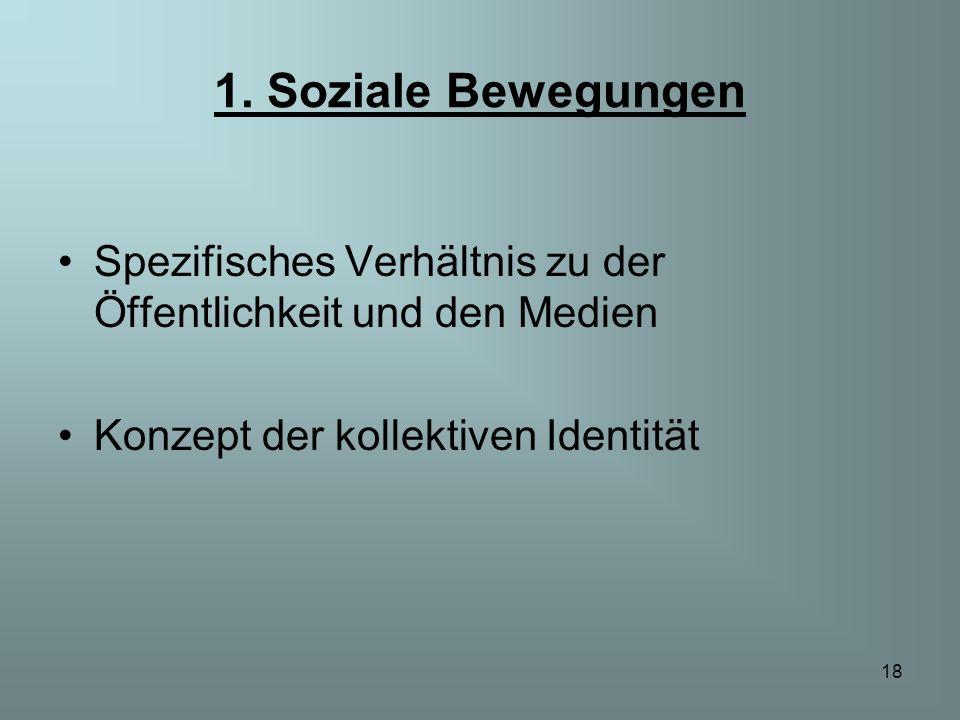 18 1. Soziale Bewegungen Spezifisches Verhältnis zu der Öffentlichkeit und den Medien Konzept der kollektiven Identität