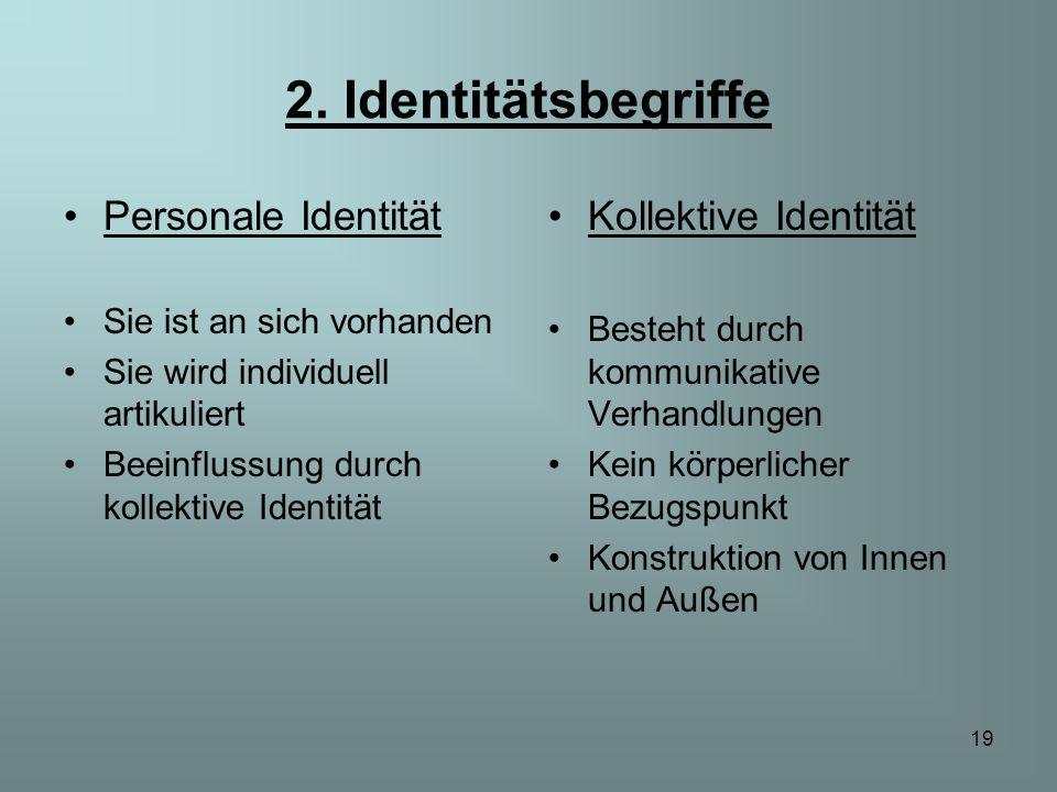 19 2. Identitätsbegriffe Personale Identität Sie ist an sich vorhanden Sie wird individuell artikuliert Beeinflussung durch kollektive Identität Kolle