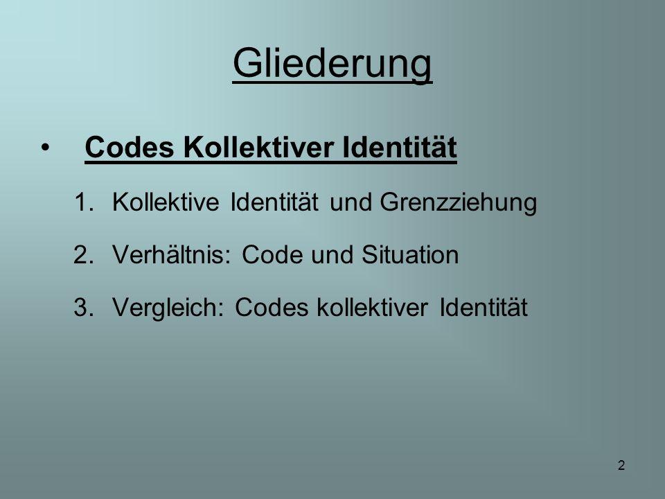 2 Gliederung Codes Kollektiver Identität 1.Kollektive Identität und Grenzziehung 2.Verhältnis: Code und Situation 3.Vergleich: Codes kollektiver Ident