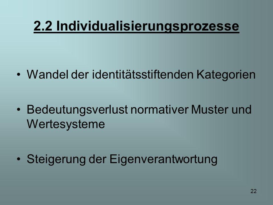 22 2.2 Individualisierungsprozesse Wandel der identitätsstiftenden Kategorien Bedeutungsverlust normativer Muster und Wertesysteme Steigerung der Eige