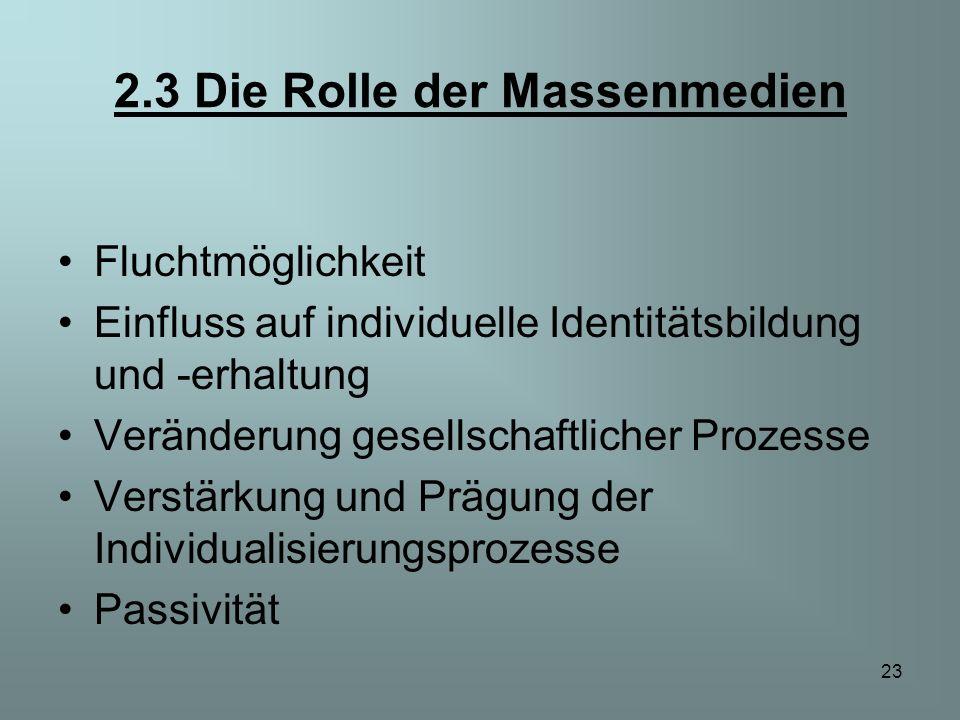 23 2.3 Die Rolle der Massenmedien Fluchtmöglichkeit Einfluss auf individuelle Identitätsbildung und -erhaltung Veränderung gesellschaftlicher Prozesse
