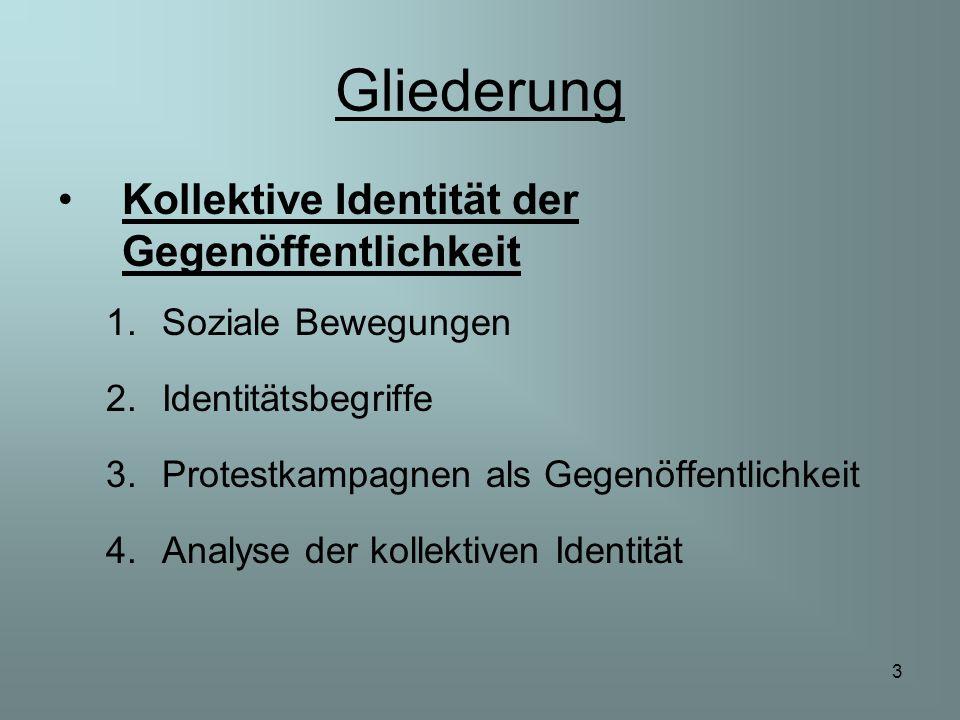 3 Gliederung Kollektive Identität der Gegenöffentlichkeit 1.Soziale Bewegungen 2.Identitätsbegriffe 3.Protestkampagnen als Gegenöffentlichkeit 4.Analy