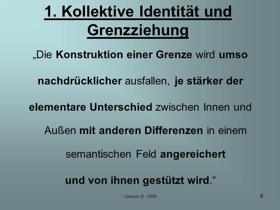 6 1. Kollektive Identität und Grenzziehung Die Konstruktion einer Grenze wird umso nachdrücklicher ausfallen, je stärker der elementare Unterschied zw