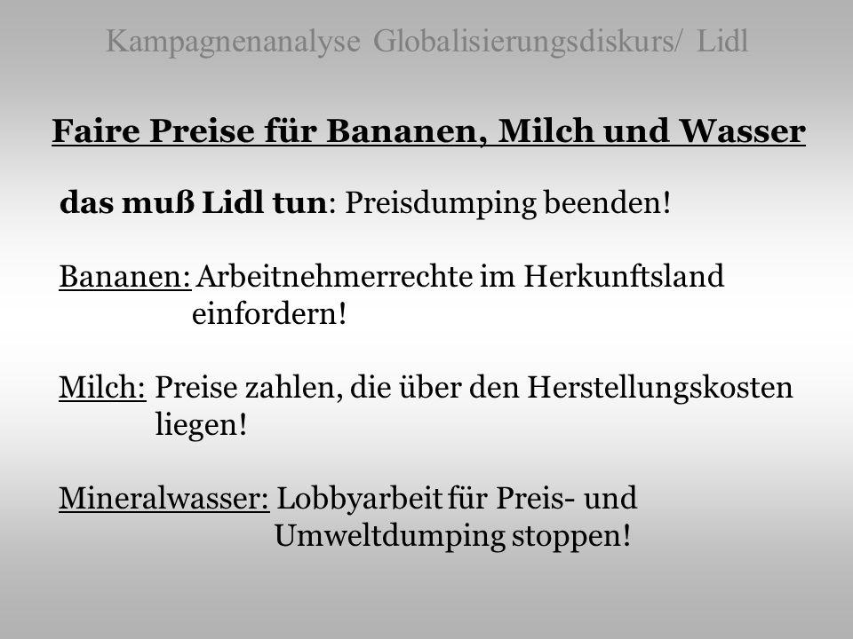 Kampagnenanalyse Globalisierungsdiskurs/ Lidl Faire Preise für Bananen, Milch und Wasser das muß Lidl tun: Preisdumping beenden! Bananen: Arbeitnehmer