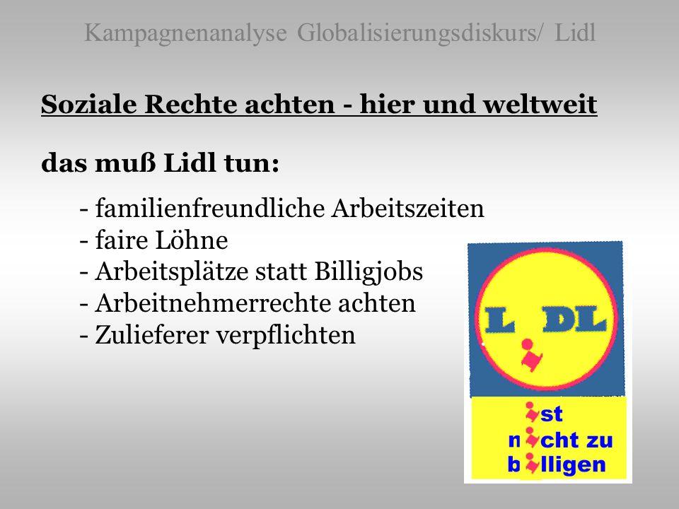 Kampagnenanalyse Globalisierungsdiskurs/ Lidl Soziale Rechte achten - hier und weltweit das muß Lidl tun: - familienfreundliche Arbeitszeiten - faire