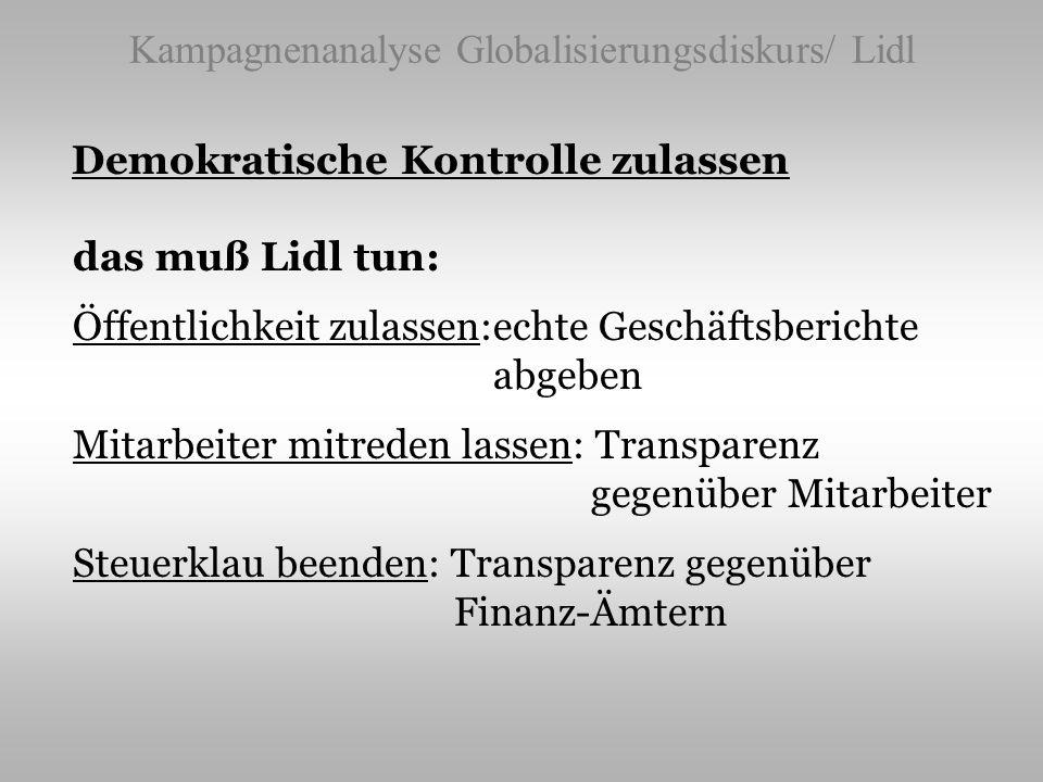 Kampagnenanalyse Globalisierungsdiskurs/ Lidl Demokratische Kontrolle zulassen das muß Lidl tun: Öffentlichkeit zulassen:echte Geschäftsberichte abgeb