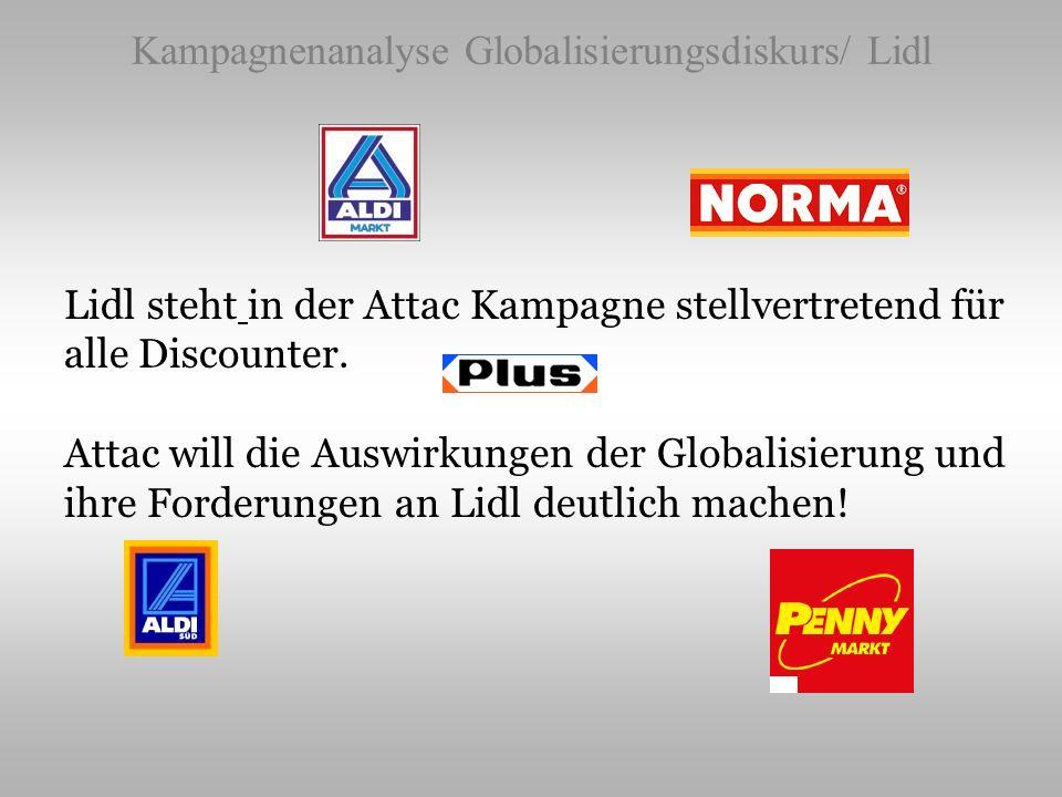 Kampagnenanalyse Globalisierungsdiskurs/ Lidl Lidl steht in der Attac Kampagne stellvertretend für alle Discounter. Attac will die Auswirkungen der Gl