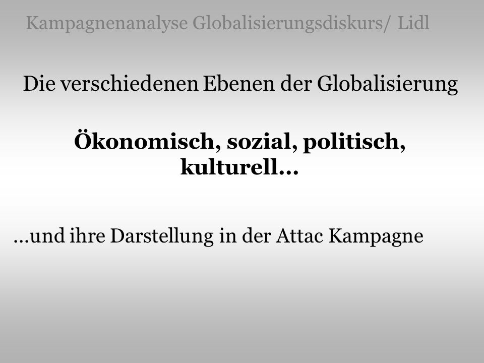 Kampagnenanalyse Globalisierungsdiskurs/ Lidl Die verschiedenen Ebenen der Globalisierung Ökonomisch, sozial, politisch, kulturell......und ihre Darst