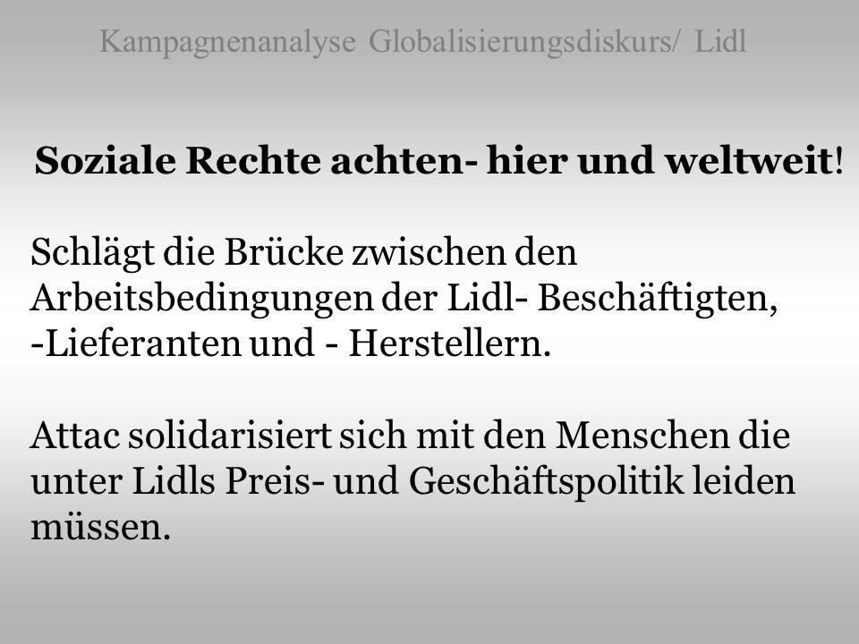 Kampagnenanalyse Globalisierungsdiskurs/ Lidl Soziale Rechte achten- hier und weltweit! Schlägt die Brücke zwischen den Arbeitsbedingungen der Lidl- B