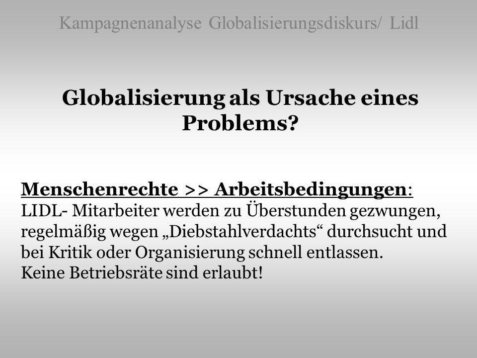 Kampagnenanalyse Globalisierungsdiskurs/ Lidl Globalisierung als Ursache eines Problems? Menschenrechte >> Arbeitsbedingungen: LIDL- Mitarbeiter werde