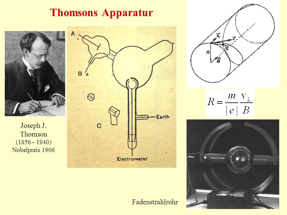 Thomsons Apparatur Joseph J. Thomson (1856 - 1940) Nobelpreis 1906 Fadenstrahlrohr