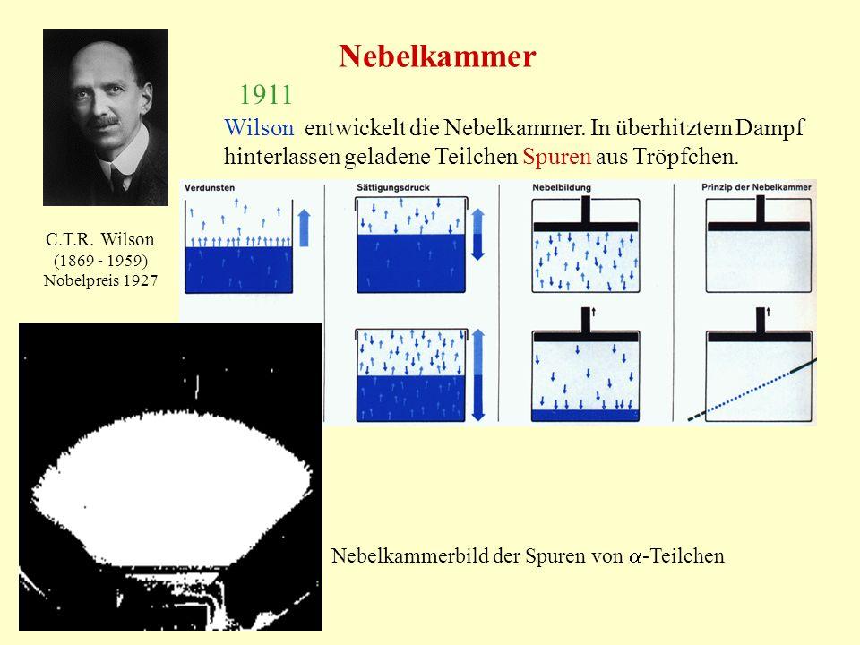 Nebelkammer C.T.R. Wilson (1869 - 1959) Nobelpreis 1927 1911 Wilson entwickelt die Nebelkammer. In überhitztem Dampf hinterlassen geladene Teilchen Sp