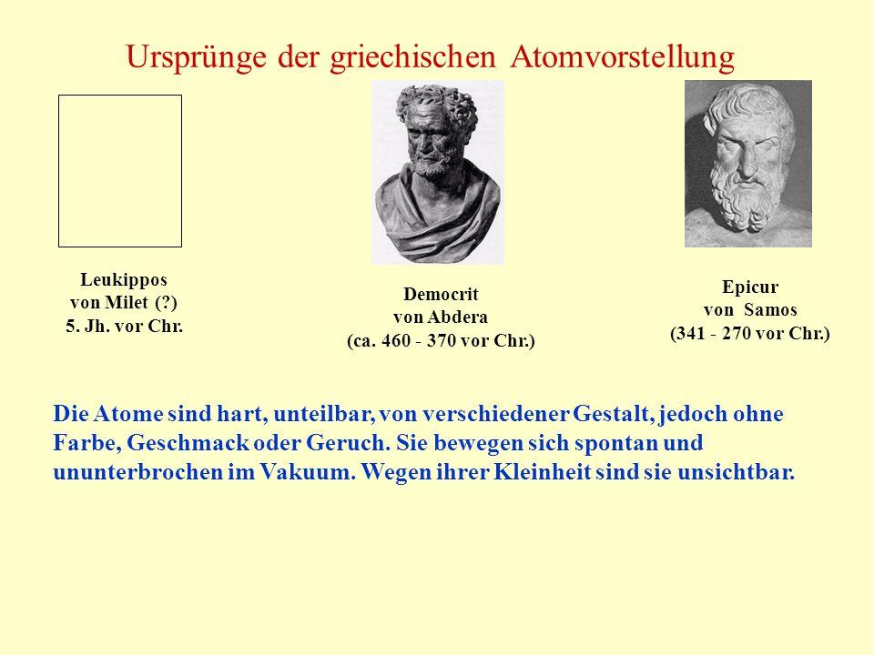 Ursprünge der griechischen Atomvorstellung Leukippos von Milet (?) 5. Jh. vor Chr. Democrit von Abdera (ca. 460 - 370 vor Chr.) Epicur von Samos (341