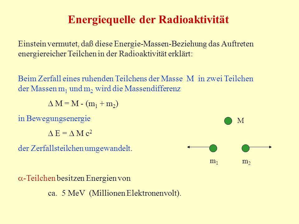 Energiequelle der Radioaktivität Einstein vermutet, daß diese Energie-Massen-Beziehung das Auftreten energiereicher Teilchen in der Radioaktivität erklärt: Beim Zerfall eines ruhenden Teilchens der Masse M in zwei Teilchen der Massen m 1 und m 2 wird die Massendifferenz M = M - (m 1 + m 2 ) in Bewegungsenergie E = M c 2 der Zerfallsteilchen umgewandelt.
