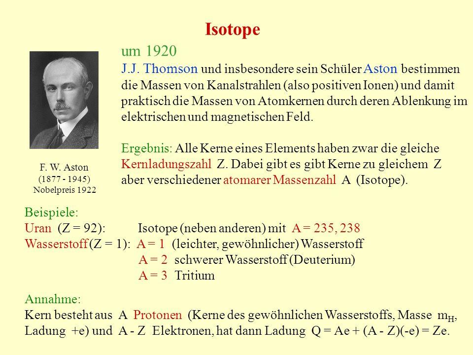 Isotope J.J. Thomson und insbesondere sein Schüler Aston bestimmen die Massen von Kanalstrahlen (also positiven Ionen) und damit praktisch die Massen