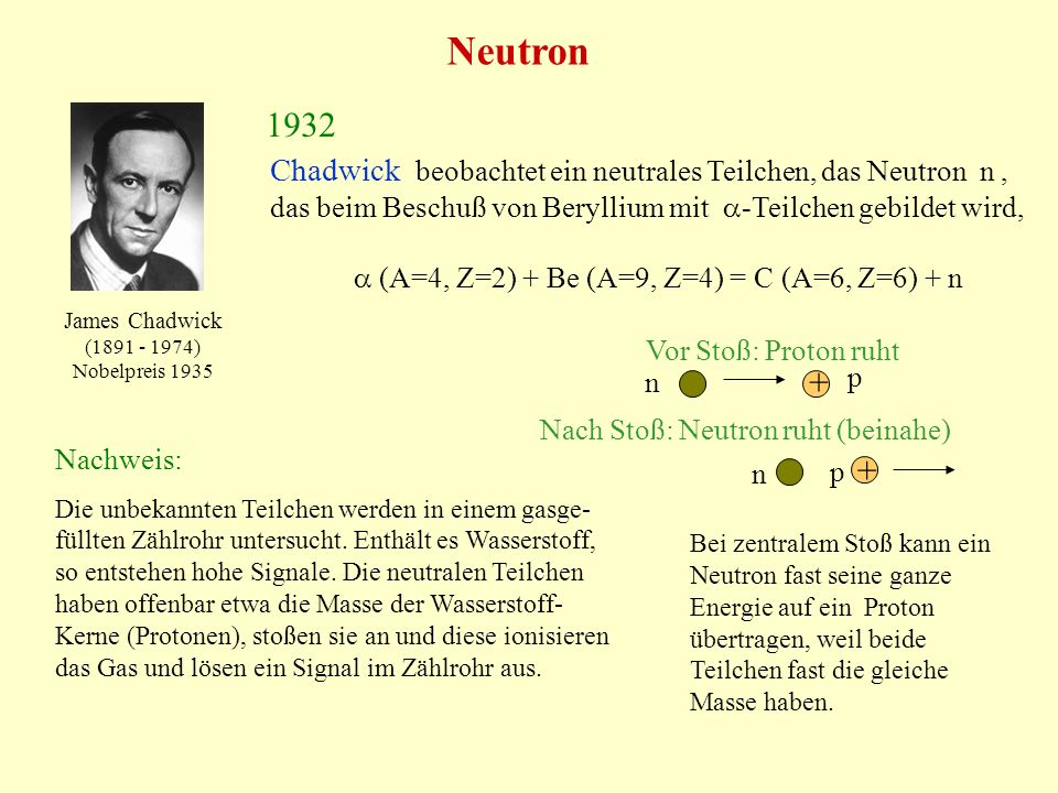 Neutron 1932 Chadwick beobachtet ein neutrales Teilchen, das Neutron n, das beim Beschuß von Beryllium mit -Teilchen gebildet wird, (A=4, Z=2) + Be (A=9, Z=4) = C (A=6, Z=6) + n James Chadwick (1891 - 1974) Nobelpreis 1935 Nachweis: Die unbekannten Teilchen werden in einem gasge- füllten Zählrohr untersucht.