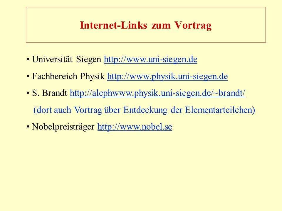Internet-Links zum Vortrag Universität Siegen http://www.uni-siegen.dehttp://www.uni-siegen.de Fachbereich Physik http://www.physik.uni-siegen.de http