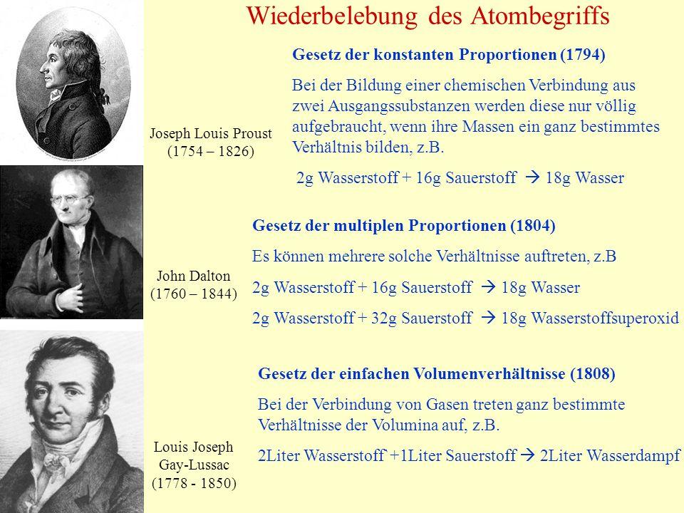 Wiederbelebung des Atombegriffs Joseph Louis Proust (1754 – 1826) John Dalton (1760 – 1844) Louis Joseph Gay-Lussac (1778 - 1850) Gesetz der konstante