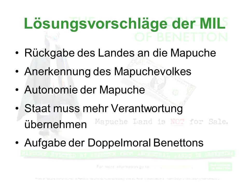 Lösungsvorschläge der MIL Rückgabe des Landes an die Mapuche Anerkennung des Mapuchevolkes Autonomie der Mapuche Staat muss mehr Verantwortung überneh