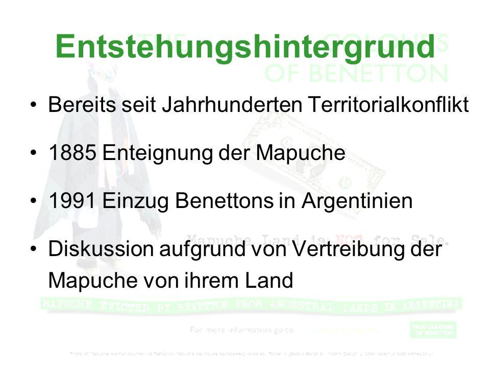Entstehungshintergrund Bereits seit Jahrhunderten Territorialkonflikt 1885 Enteignung der Mapuche 1991 Einzug Benettons in Argentinien Diskussion aufg