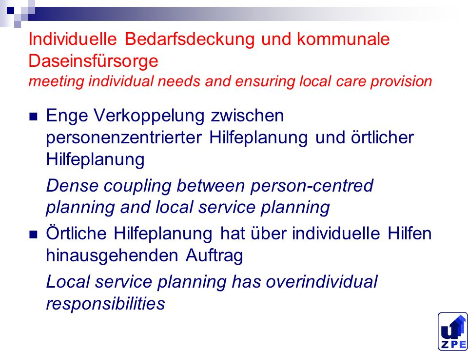 Methodische Aspekte örtlicher Behindertenhilfeplanung methods of local disability planning Zuerst breit, nicht detailliert angelegte Analyse des örtlichen Hilfesystems bzw.